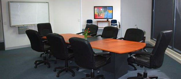 The Aurora Room, set up as a boardroom